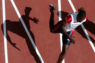 An aerial viw of Justin Gatlin in the heats of the 200m (Getty Images)