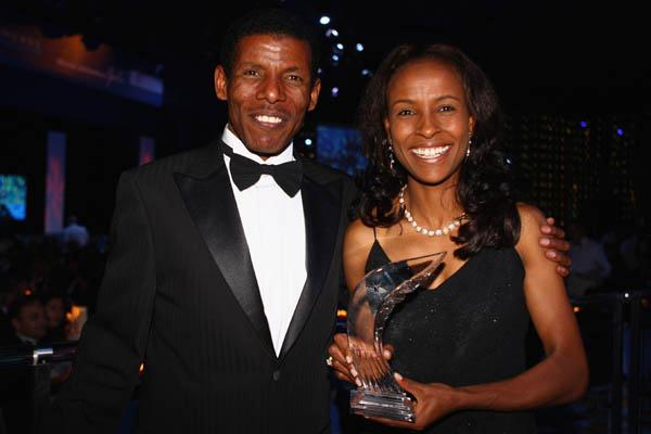 World Athlete of the year Meseret Defar with Haile Gebrselassie (Getty Images)