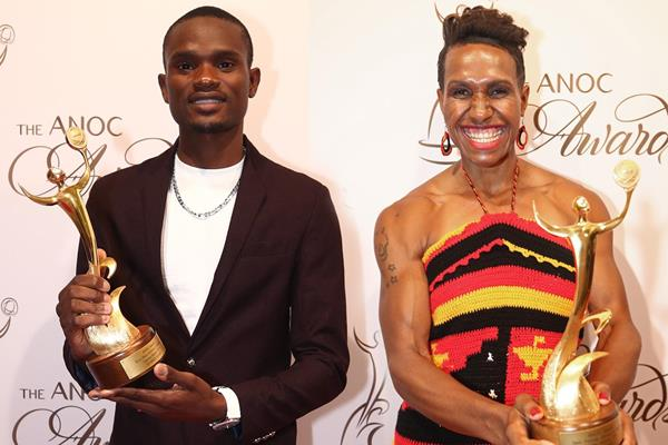 Sydney Siame and Toea Wisil at the 2019 ANOC Awards (Getty Images)