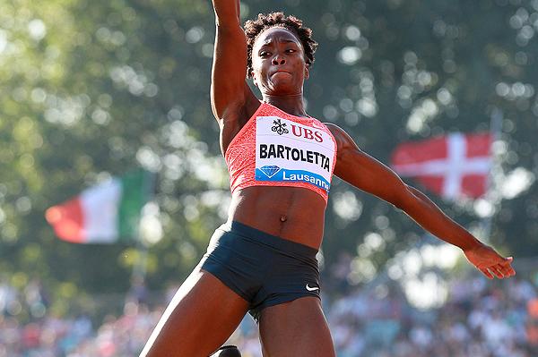 Tianna Bartoletta in the long jump at the IAAF Diamond League meeting in Lausanne (Victah Sailer)