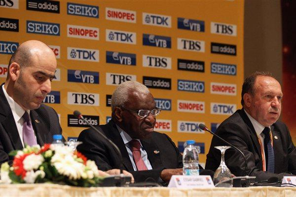 From left: IAAF General Secretary Essar Gabriel, IAAF President Lamine Diack and Mehmet Terzi, President of the Turkish Athletics Federation and Local Organising Committee (Getty Images)