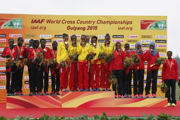 The junior women's team medallists at the IAAF World Cross Country Championships, Guiyang 2015 (Getty Images)