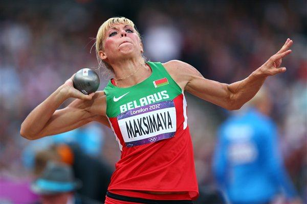 Yana Maksimava of Belarus competes in the Women's Heptathlon Shot Put on Day 7 of the London 2012 Olympic Games at Olympic Stadium on August 3, 2012 (Getty Images)