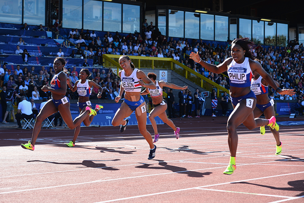 Asha Philip (far right) wins the 100m at the British Championships (Getty Images)