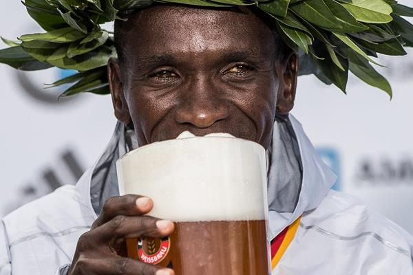 Eliud Kipchoge celebrates after his world record run in Berlin (Bongarts/Getty Images)