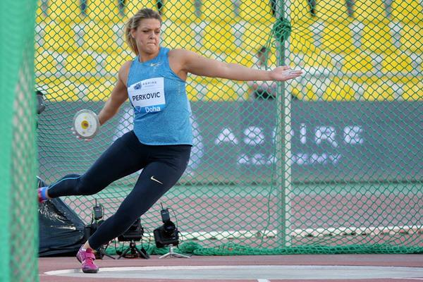 Sandra Perkovic, winner of the discus at the 2015 IAAF Diamond League meeting in Doha (DECA Text & Bild)
