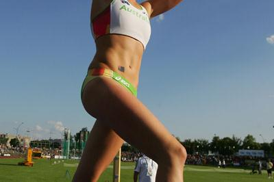 Vicky Parnov of Australia wins the Pole Vault final (Getty Images)