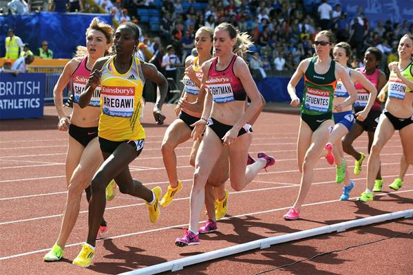 Abeba Aregawi on her way to winning the 1500m at the IAAF Diamond League meeting in Birmingham (Mark Shearman)