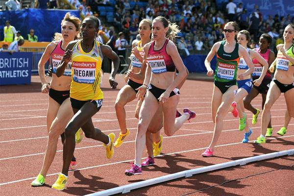 Abeba Aregawi on her way to winning the 1500m at the IAAF Diamond League meeting in Birmingham (Mark Shearman)