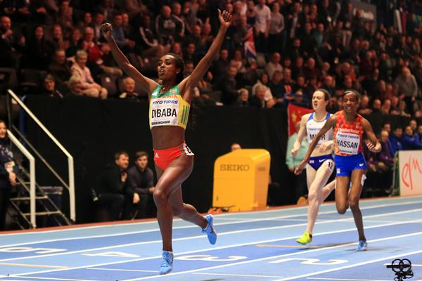 Genzebe Dibaba wins the 3000m IAAF World Indoor Championships Birmingham 2018 (Getty Images)