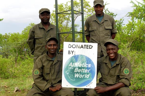 Rangers with an ABW logo after constructing a radio repeater station in Tanzania (Big Life Foundation)