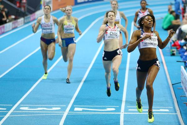 Perri Shakes-Drayton runs a world-leading 50.85 to win the European indoor 400m title (Getty Images)