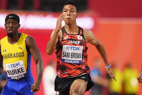 Mario Burke, Abdul Hakim Sani Brown and Christian Coleman in their opening round 100m heat at the IAAF World Athletics Championships Doha 2019 (Getty Images)