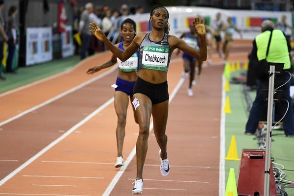 Beatrice Chepkoech wins the 1500m at the World Athletics Indoor Tour meeting in Dusseldorf (Gladys Chai von der Laage)