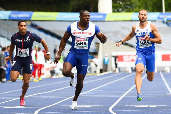 Harry Aikines-Aryeetey of Great Britain wins the 100m at the European Team Championships in Lille  (Getty Images)