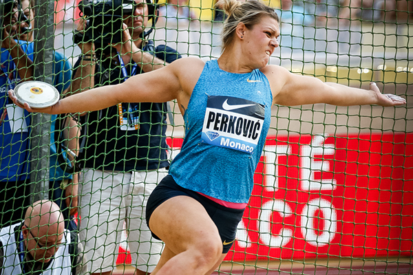 Sandra Perkovic in the discus at the IAAF Diamond League meeting in Monaco (Philippe Fitte)