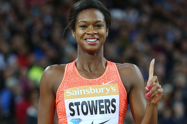 Jasmin Stowers after winning the 100m hurdles at the IAAF Diamond League meeting in London (Jean-Pierre Durand)