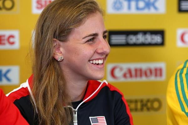 USA's Mary Cain at the press conference ahead of the IAAF World Junior Championships, Oregon 2014 (Getty Images)