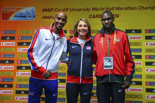 Mo Farah, Sara Hall and Geoffrey Kamworor at the press conference for the IAAF/Cardiff University World Half Marathon Championships Cardiff 2016 (Getty Images)