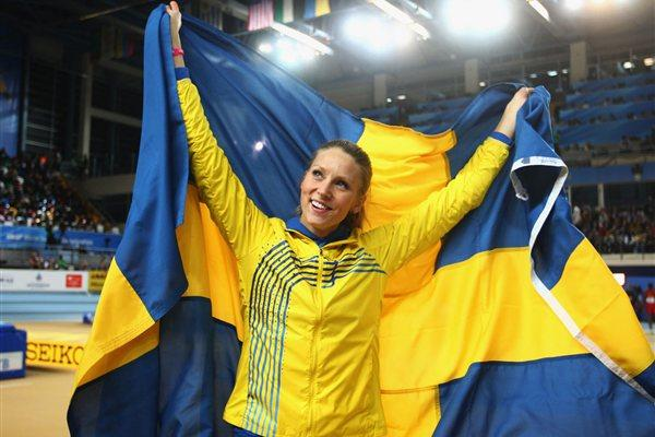 Ebba Jungmark of Sweden celebrates as she wins a joint silver medal during the Women's High Jump Final during day two - WIC Istanbul (Getty Images)