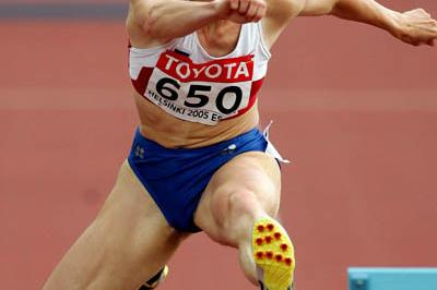 Yuliya Pechonkina of Russia on her way to gold in the 400m Hurdles (Getty Images)