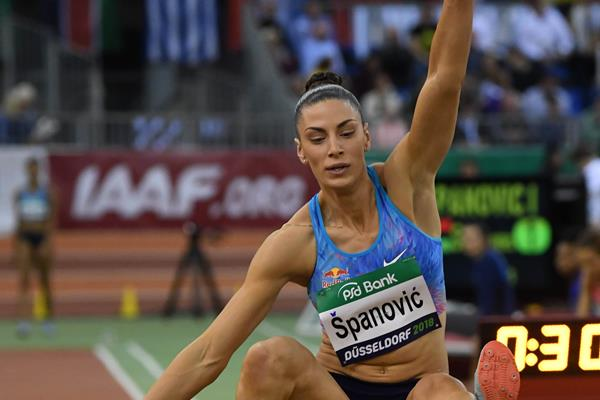 Ivana Spanovic on her way to a world-leading 6.77m at the PSD Bank Meeting Düsseldorf (Gladys Chai von der Laage)