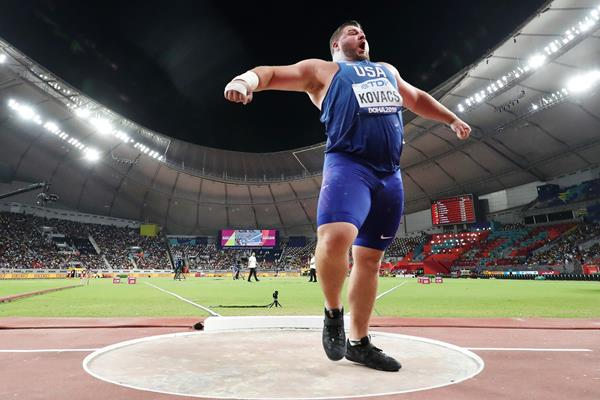 Joe Kovacs after unleashing his winning throw at the IAAF World Athletics Championships Doha 2019 (Getty Images)