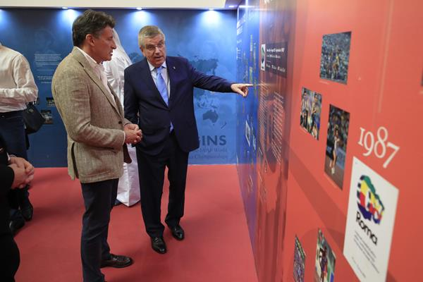 IAAF President Sebastian Coe and IOC President Thomas Bach visit the IAAF Heritage Exhibition in Doha (Getty Images)