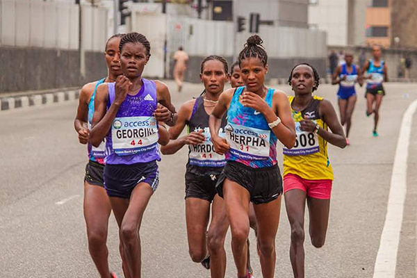 Almenesh Herpha on her way to winning the Lagos City Marathon (Organisers)