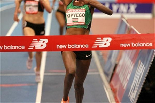 Sally Kipyego wins 3000m at New Balance Indoor GP in Boston (Victah Sailer)