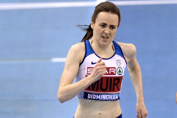 Laura Muir on her way to winning the 3000m at the British Indoor Championships (Getty Images)