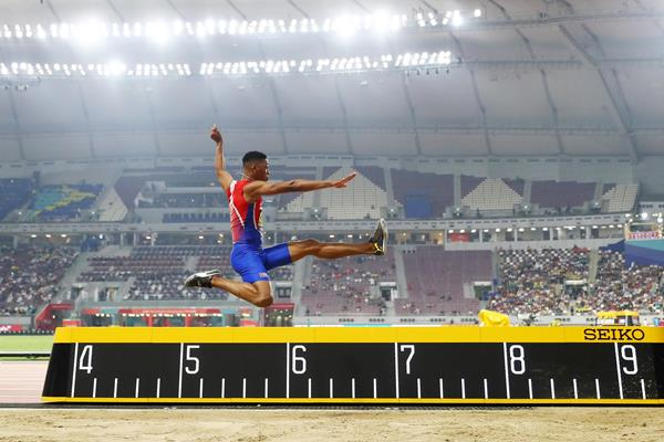 Juan Miguel Echevarria in the long jump at the IAAF World Athletics Championships Doha 2019 (Getty Images)