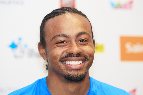 Aries Merritt at the press conference for the IAAF Diamond League meeting in London (Jean-Pierre Durand)