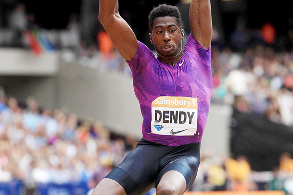 Marquis Dendy at the 2015 IAAF Diamond League meeting in London (Kirby Lee)