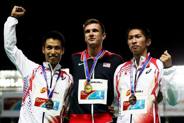 Boys' 400m hurdles podium at the IAAF World Youth Championships, Cali 2015  (Getty Images)