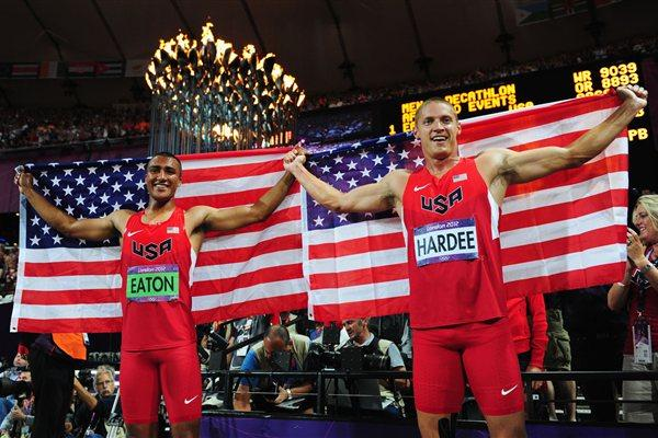 Ashton Eaton (L) of the United States and Trey Hardee (R) of the United States celebrate under the Olympic Cauldron after winning gold and silver in the Men's Decathlon of the London 2012 Olympic Games on 9 August 2012  (Getty Images)