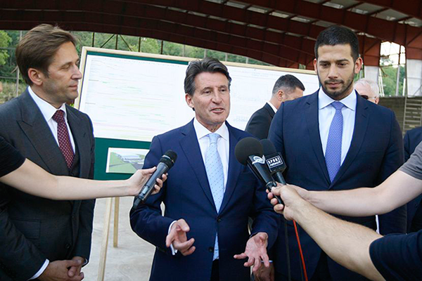 IAAF President Seb Coe at a new indoor training facility in Belgrade (IAAF)