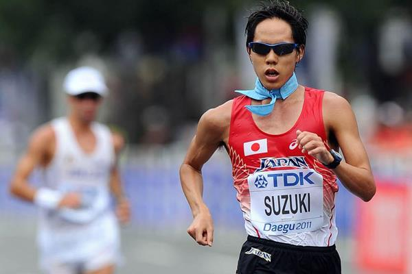 Yusuke Suzuki of Japan competes in the men's 20km race walk during day two  (Getty Images)