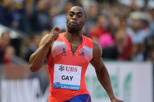 Tyson Gay at the 2013 IAAF Diamond League meeting in Lausanne (Gladys von der Laage)