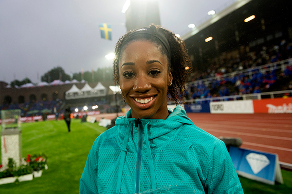 Kendra Harrison after winning the 100m hurdles at the IAAF Diamond League meeting in Stockholm (Hasse Sjogren)