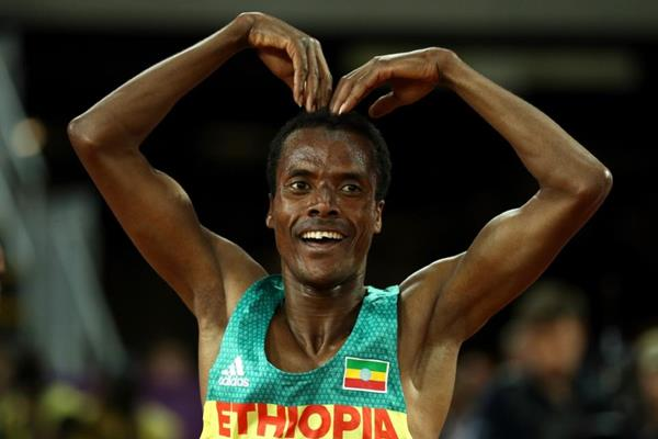 Muktar Edris after winning the 5000m at the IAAF World Championships London 2017 (Getty Images)