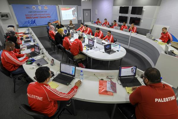 Athletics coaches in Palestine take part in an online coaching course (AFP / Getty Images)