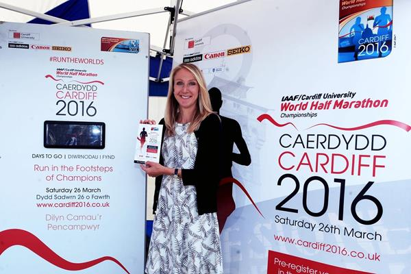 Paula Radcliffe after being named as official ambassador for the IAAF/Cardiff University World Half Marathon Championships, Cardiff 2016 (IAAF/Cardiff University World Half Marathon Championships, Cardiff 2016 LOC)