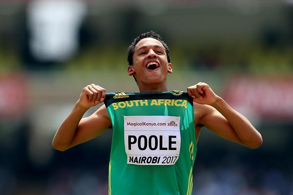 Breyton Poole after taking victory in the boys' high jump at the IAAF World U18 Championships Nairobi 2017 (Getty)