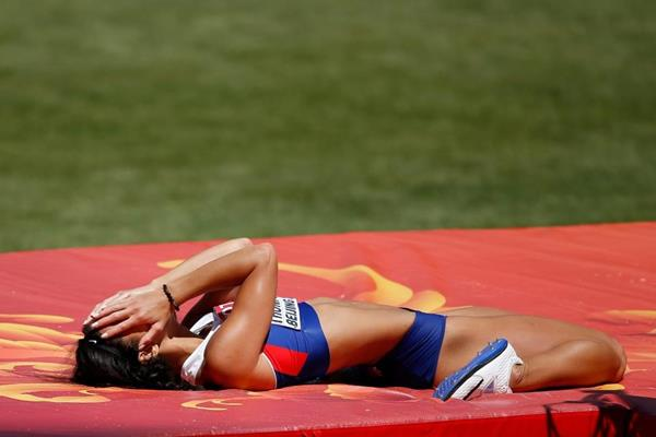 Katarina Johnson-Thompson in the heptathlon high jump at the IAAF World Championships, Beijing 2015 (Getty Images)
