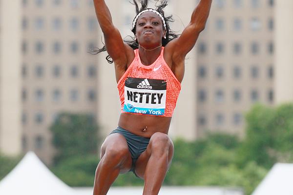 Christabel Nettey, winner of the long jump at the IAAF Diamond League meeting in New York (Victah Sailer)
