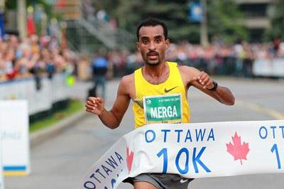 Deriba Merga wins the 2011 Ottawa 10km (Victah  Sailer)