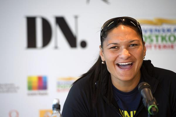 Valerie Adams at the pre-event press conference ahead of the 2013 IAAF Diamond League meeting in Stockholm (Anders and Hasse Sjogren)