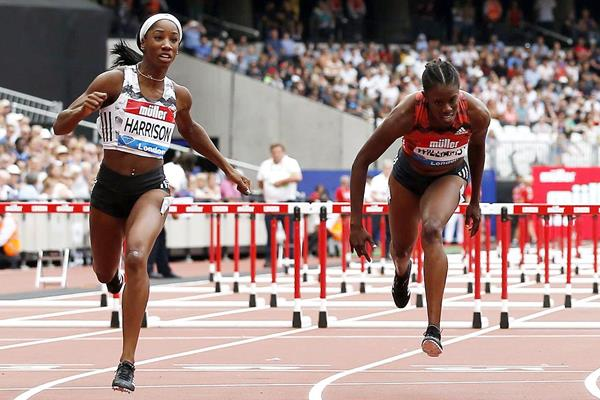 Kendra Harrison wins the 100m hurdles at the IAAF Diamond League meeting in London (AFP / Getty Images)