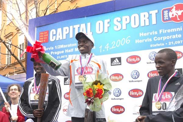Stephen Kibiwott celebrates his win at the Prague Half Marathon (Prague International Marathon)